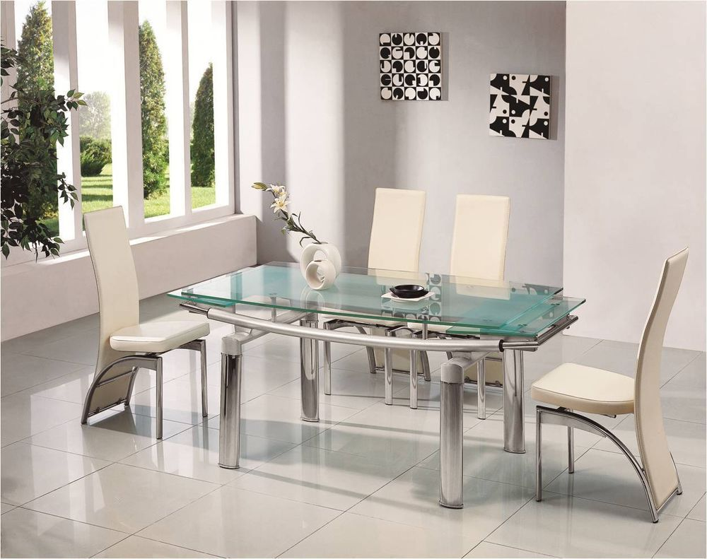 Donato Extending Glass Chrome Dining Room Table 6 Chairs Set Furniture 501 810 Glass Dining Table Contemporary Rectangle Dining Table Glass Dining Room Table