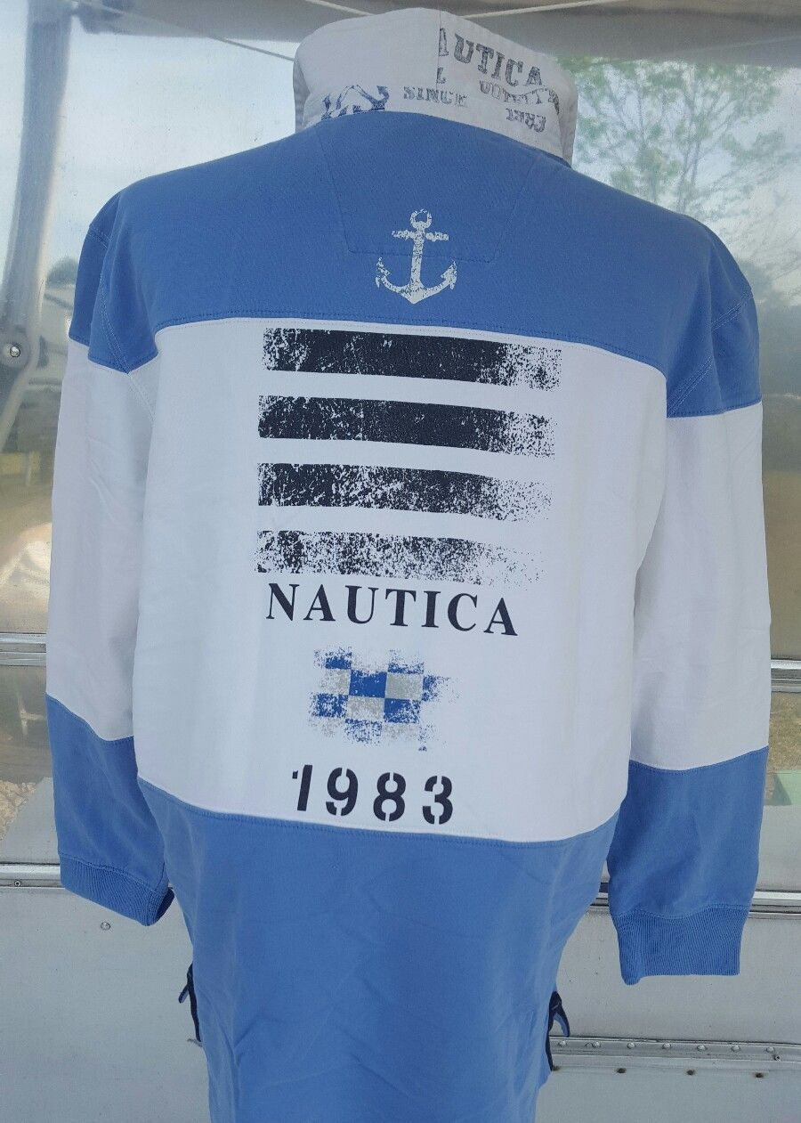 Blue Nautica Spell Out Baby White Striped Sailing Polo Rugby Shirt