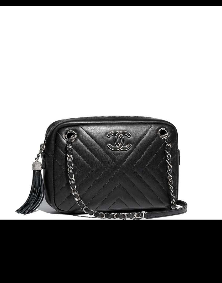 b0d715f92feb Camera case, calfskin & silver-tone metal-black - CHANEL | The ...