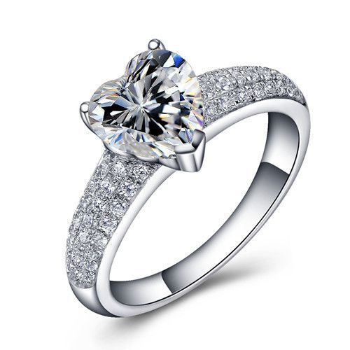 heart shaped engagement ring promotion online shopping for - Heart Shaped Diamond Wedding Ring