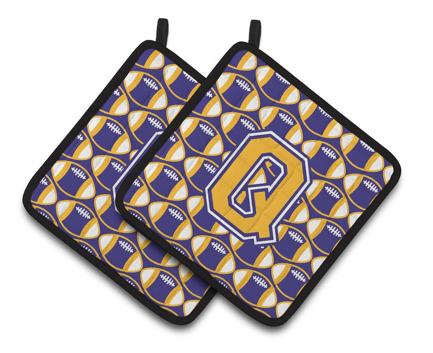Letter Q Football Purple and Gold Pair of Pot Holders CJ1064-QPTHD