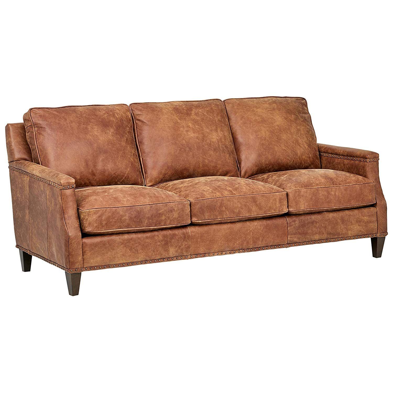 Amazonsmile Stone Beam Marin Leather Studded Sofa 87 W Saddle