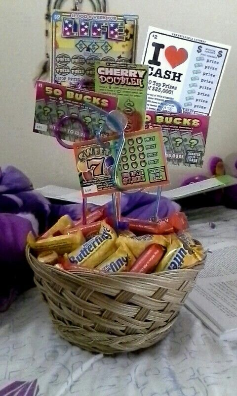 Lottery Ticket And Candy Basket Perfect Gift For The Gamblers In Your Life Themed Gift