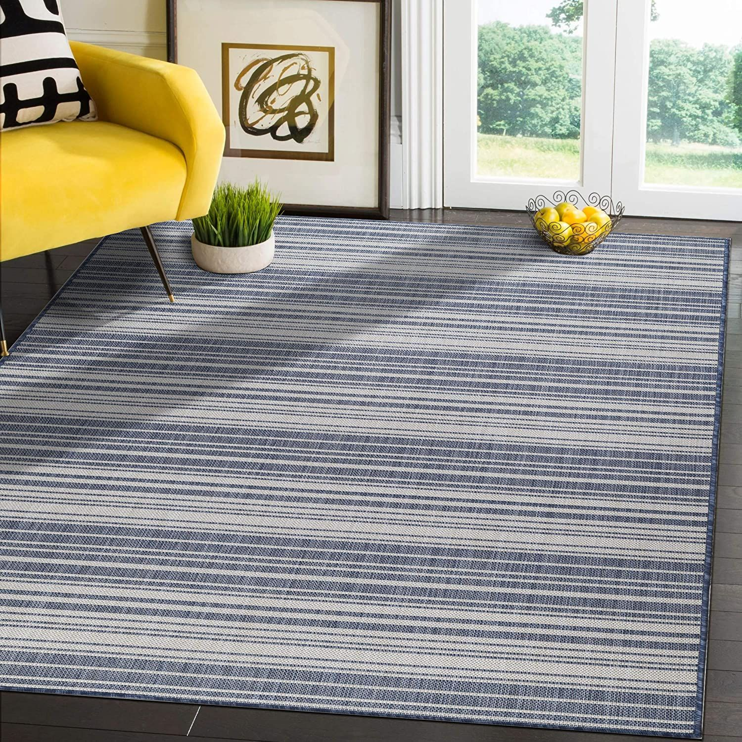 Modern Area Rugs for Indoor Outdoor Stripes   Blue / White   8x10 Gallery