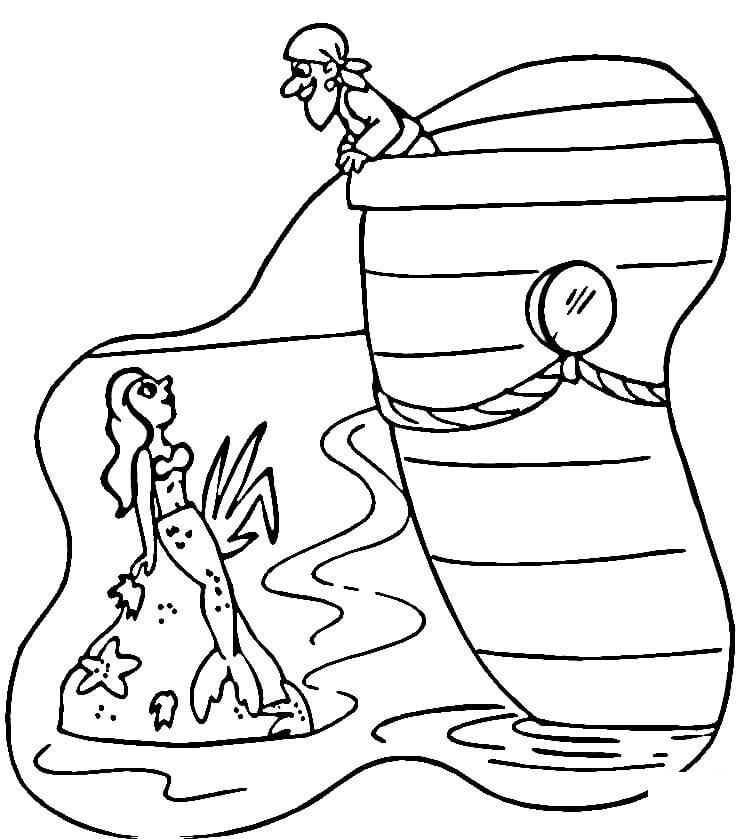 Mermaid And Pirate Coloring Pages | Pirate coloring pages ...