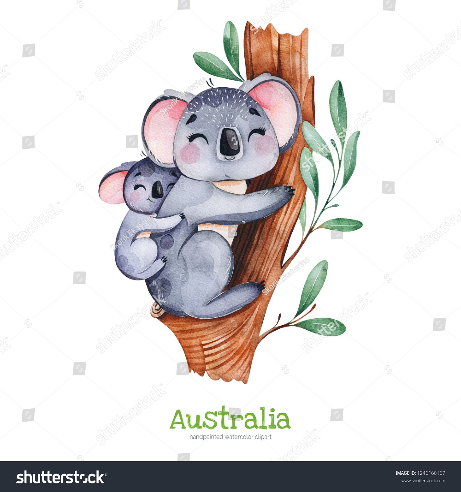 Australia Watercolor Set Cute Koala With Baby On Eucalyptus Tree Watercolor Animals Perfect For Wallpa Baby Animal Drawings Koala Drawing Nursery Animal Prints