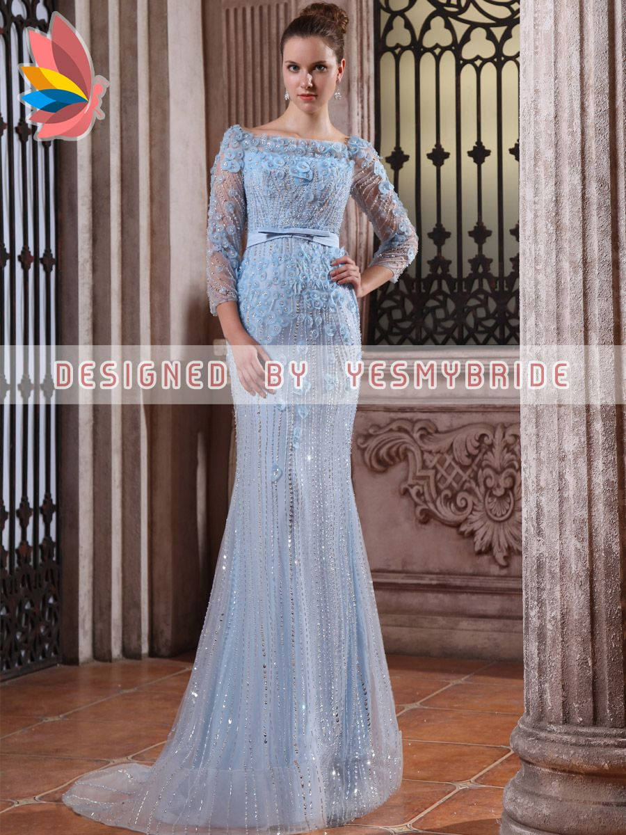 Light sky blue beaded flower chiffon mermaid evening formal dress