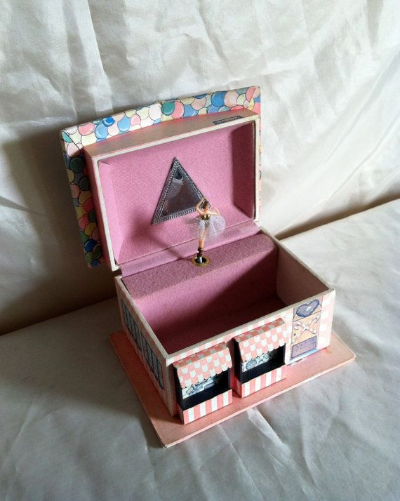Vintage Musical Jewelry Box House with Spinning Ballerina Candy