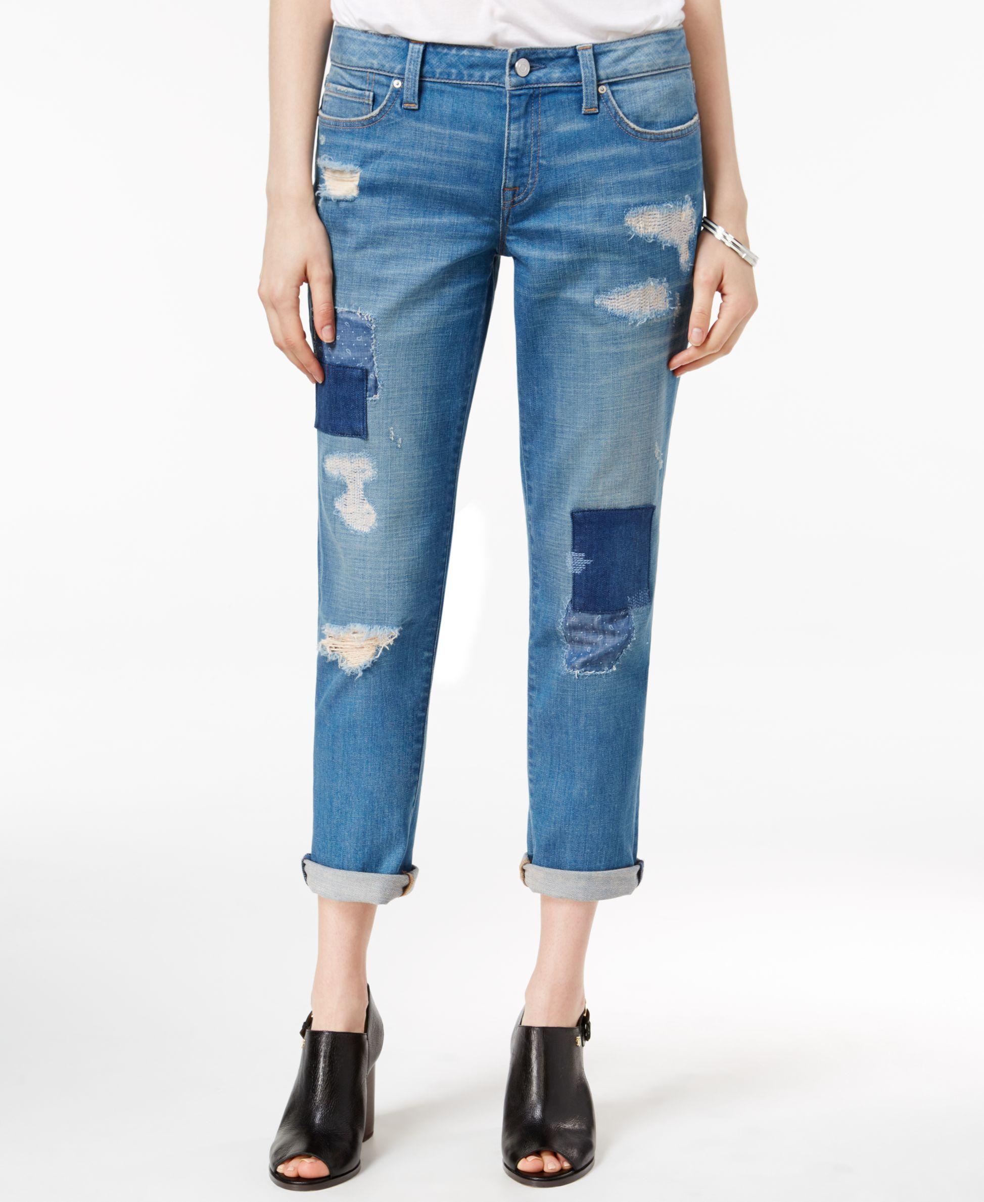 4c93826bab5 Tommy Hilfiger Paisley Ripped Medium Blue Wash Boyfriend Jeans ...