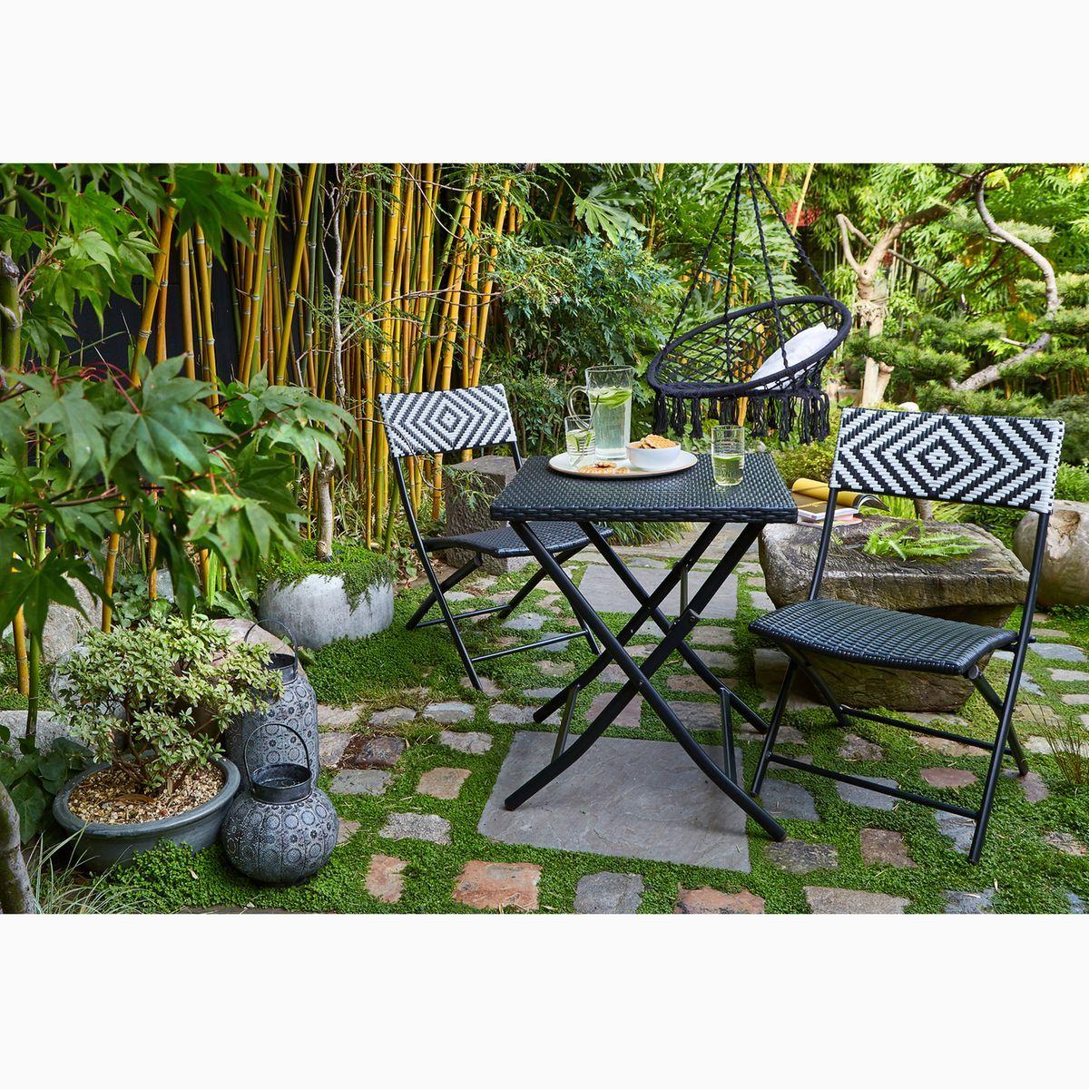 Jardin zen et ethnique avec ce mobilier de jardin tressé noir et ...
