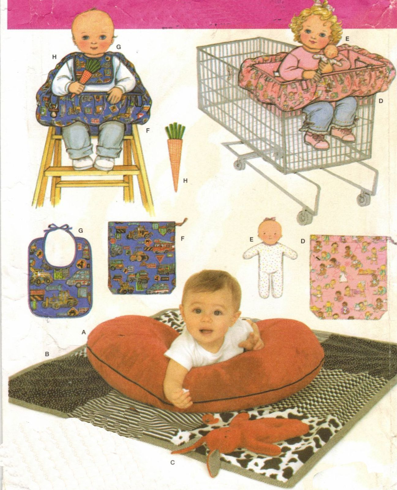 Simplicity Pattern 4225 Baby Accessories shopping cart seat cover quilt