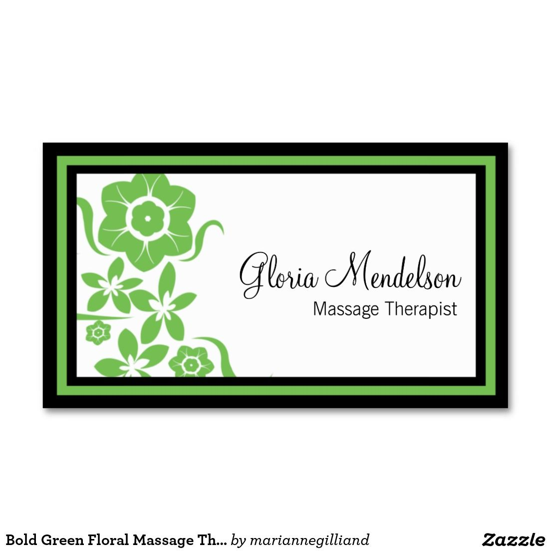 Bold Green Floral Massage Therapy Business Card | Business cards ...