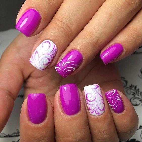 20 tekeningen van grote paarse nagels die deze zomer gaan