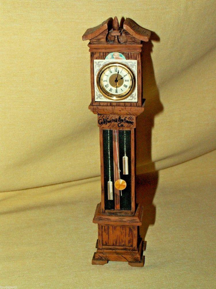 California Perfume Co Grandfather Clock Batt Op Resin Wood Grain Dollhouse  Mini