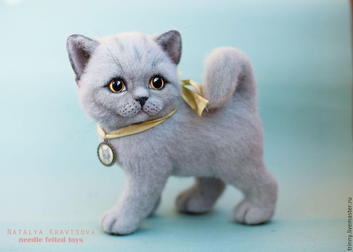 Купить Британский котенок Марта - серый, Британский кот, британец, валяная игрушка, авторская игрушка
