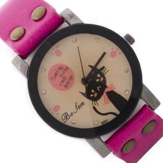 Reloj fucsia con esfera en tonos pastel y borde negro. Con dibujo de un gato echándote de menos en su esfera. Disponible en la tienda www.zen-kat.com