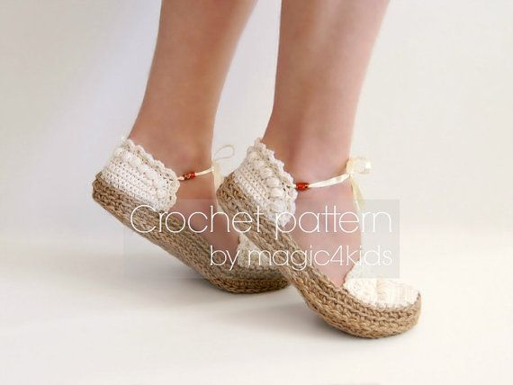 Crochet pattern ballerinas with jute rope soles rope от magic4kids