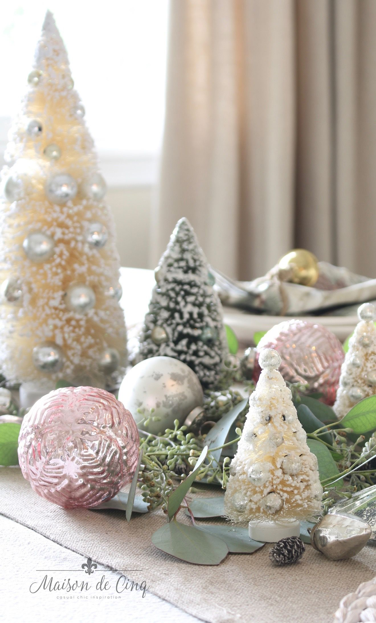 Soft Romantic Christmas Table Setting With Touches Of Blush Christmas Table Settings Romantic Christmas Pink Christmas Table