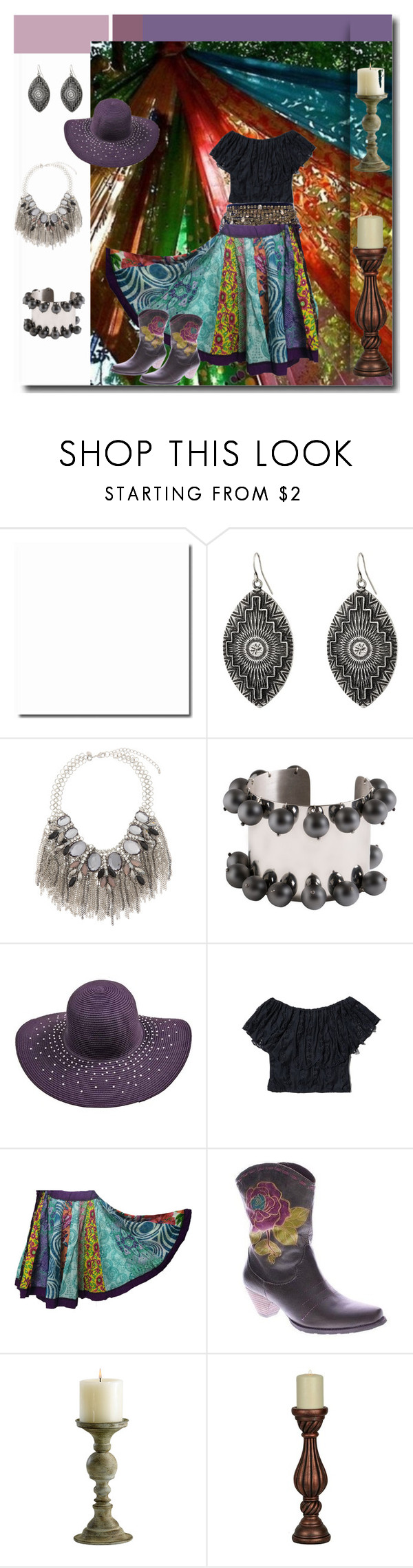 """""""Gypsy Wind"""" by pampire ❤ liked on Polyvore featuring moda, Gypsy SOULE, Eloquii, Abercrombie & Fitch, L'Artiste by Spring Step ve Cyan Design"""