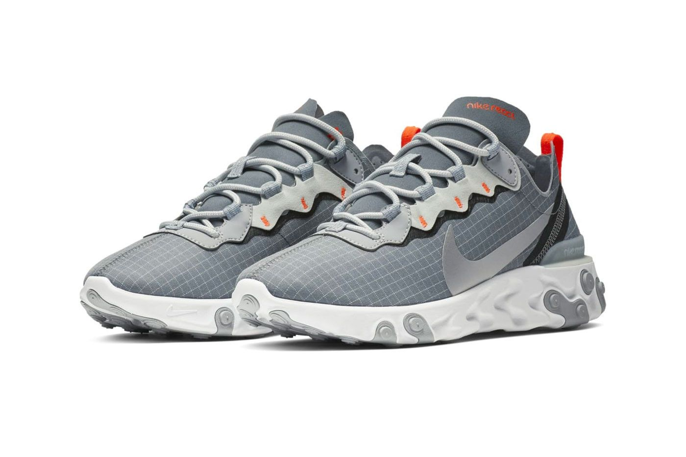 Nike's React Element 55 Features New Grey & Orange Grid ...