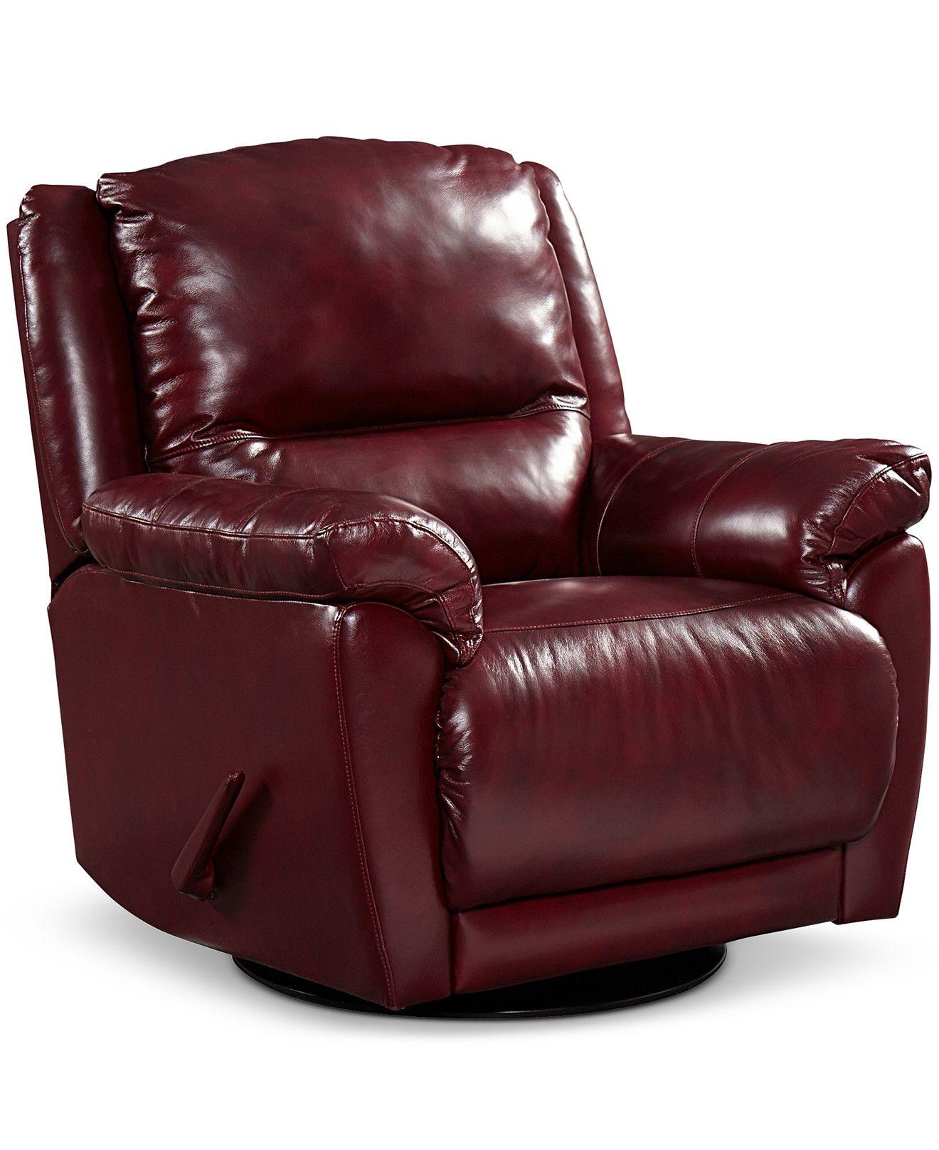 Hughstin Leather Swivel Glider Recliner Furniture Macy
