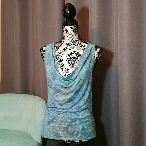 GUESS XS TURQUOISE & BLUE COWL NECK TANK NWT Guess turquoise, blue, and orange(ish) racerback tank.  Has a cowl neck and metal logo charm sewn on the bottom near hem.  Size XS NWT Guess Tops Tank Tops