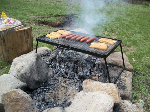 Camp Grill Over Fire Portable Heavy Duty Grate Outdoor Cooking Folding Steel