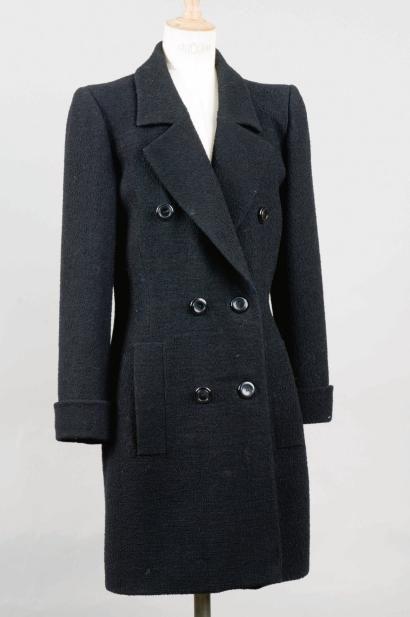 Yves SAINT LAURENT Haute couture, n°071125, circa 1990 7/8 en lainage bouclettes