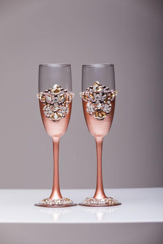 Personalized Wedding Gles Rose Gold By Weddingartgallery Ideas Pinterest And Champagne