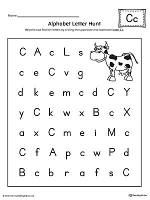 alphabet letter hunt letter c worksheet alphabet letters fun activities and worksheets. Black Bedroom Furniture Sets. Home Design Ideas