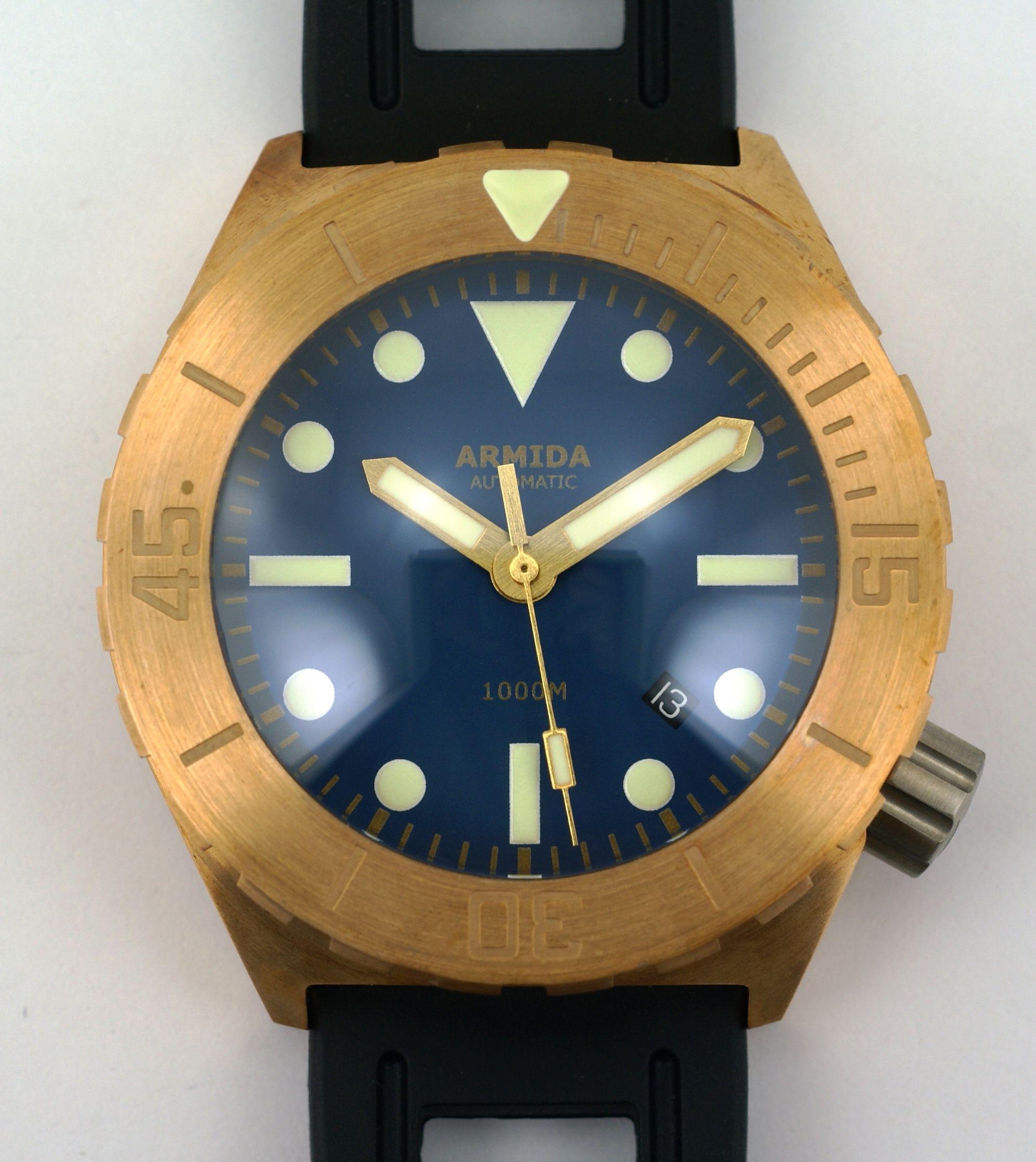 Stunning bronze watch ARMIDA WATCHES http://www.armidawatches.com/a1-1000m-bronze.php