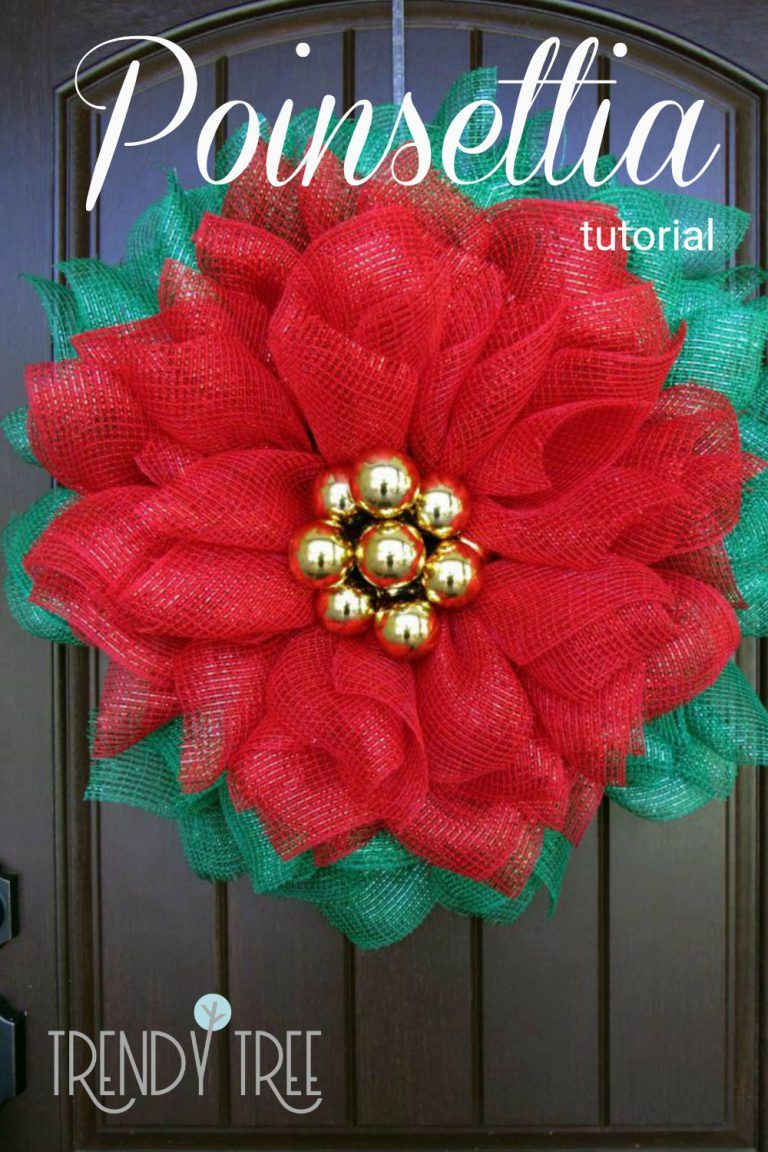 Poinsettia Mesh Wreath Tutorial - Trendy Tree Blog| Holiday Decor Inspiration | Wreath Tutorials|Holiday Decorations| Mesh & Ribbons