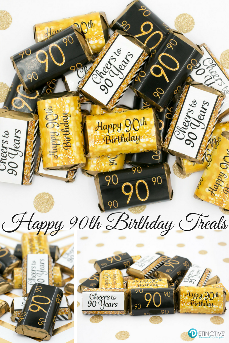 Gold And Black 90th Birthday Party Favor Stickers For Small Chocolates That Will Be A Sure Hit At Your