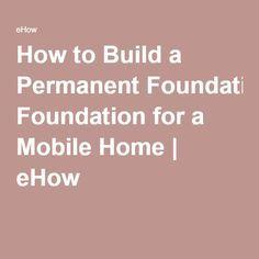 Mobile home permanent foundation plans