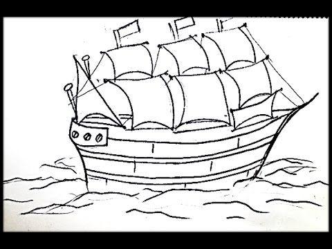 الدرس 4 تعلم الرسم سفينة وأشرعة Lesson 4 Learn Drawing Ship And S Hand Art Art Male Sketch