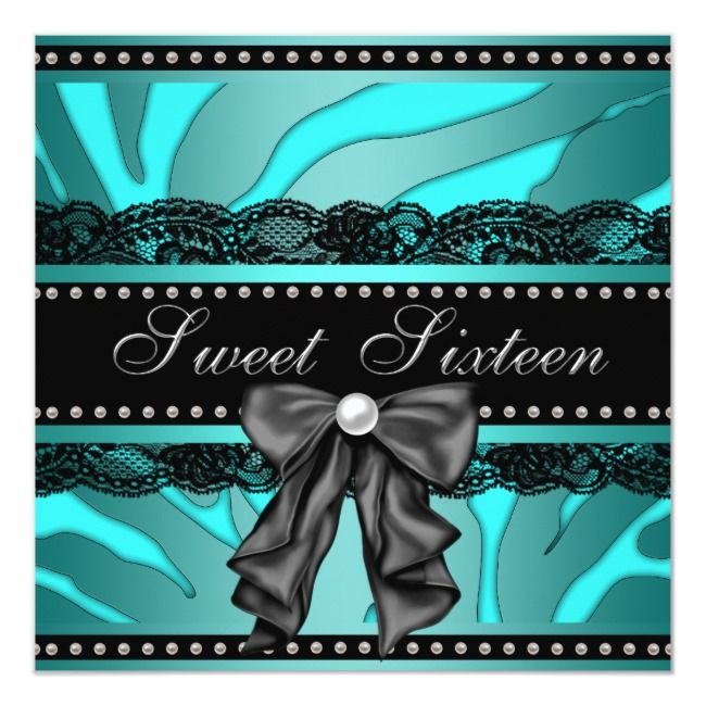 Teal Blue Zebra Sweet 16 Birthday Party Invitation #sweet16birthdayparty #tealsweet16party #tealsweet16birthdayparty #tealbluesweetsixteenparty #zebrasweet16party #sweet16invitations