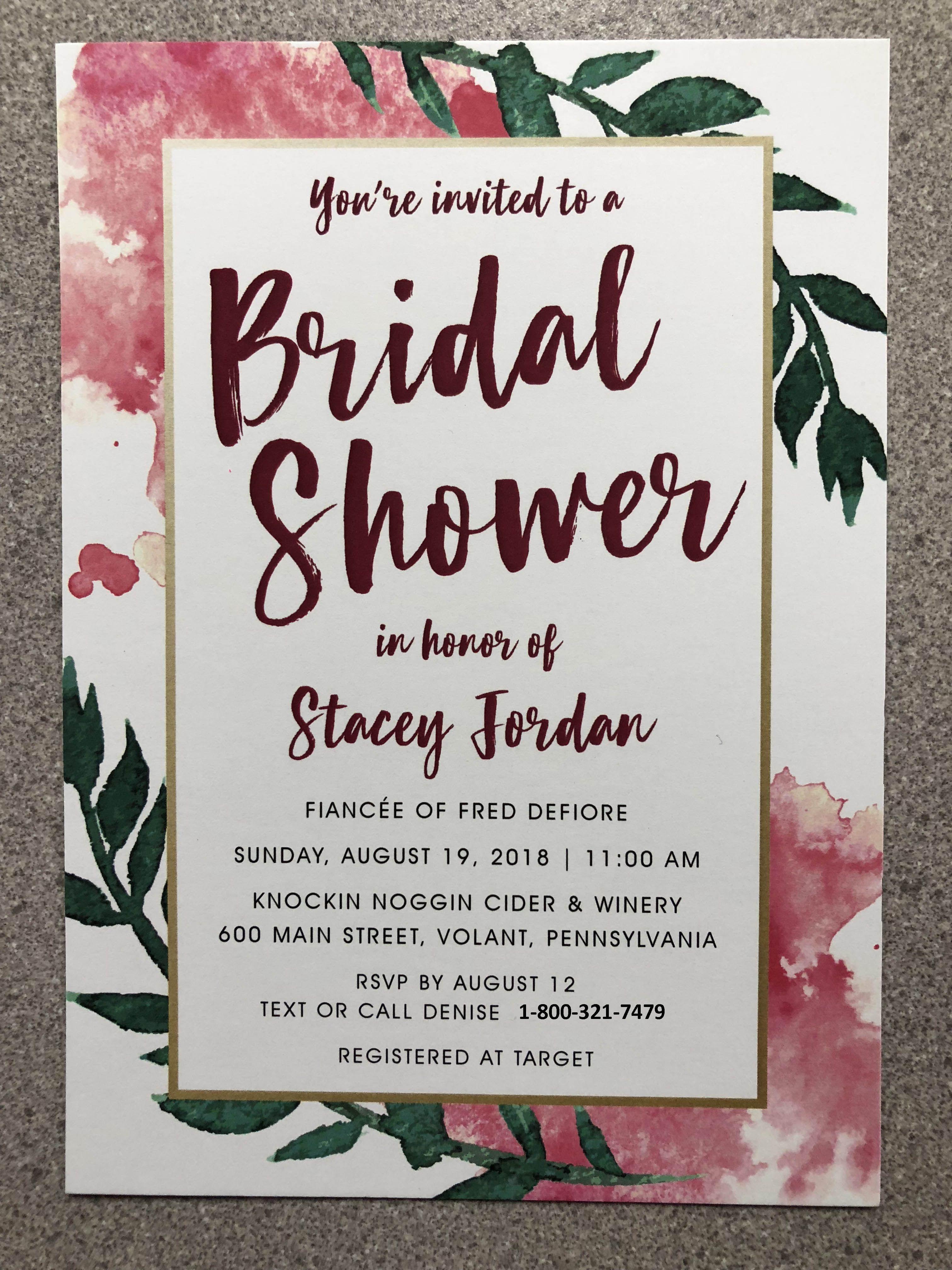 custom bridal shower invitation from boardman printing