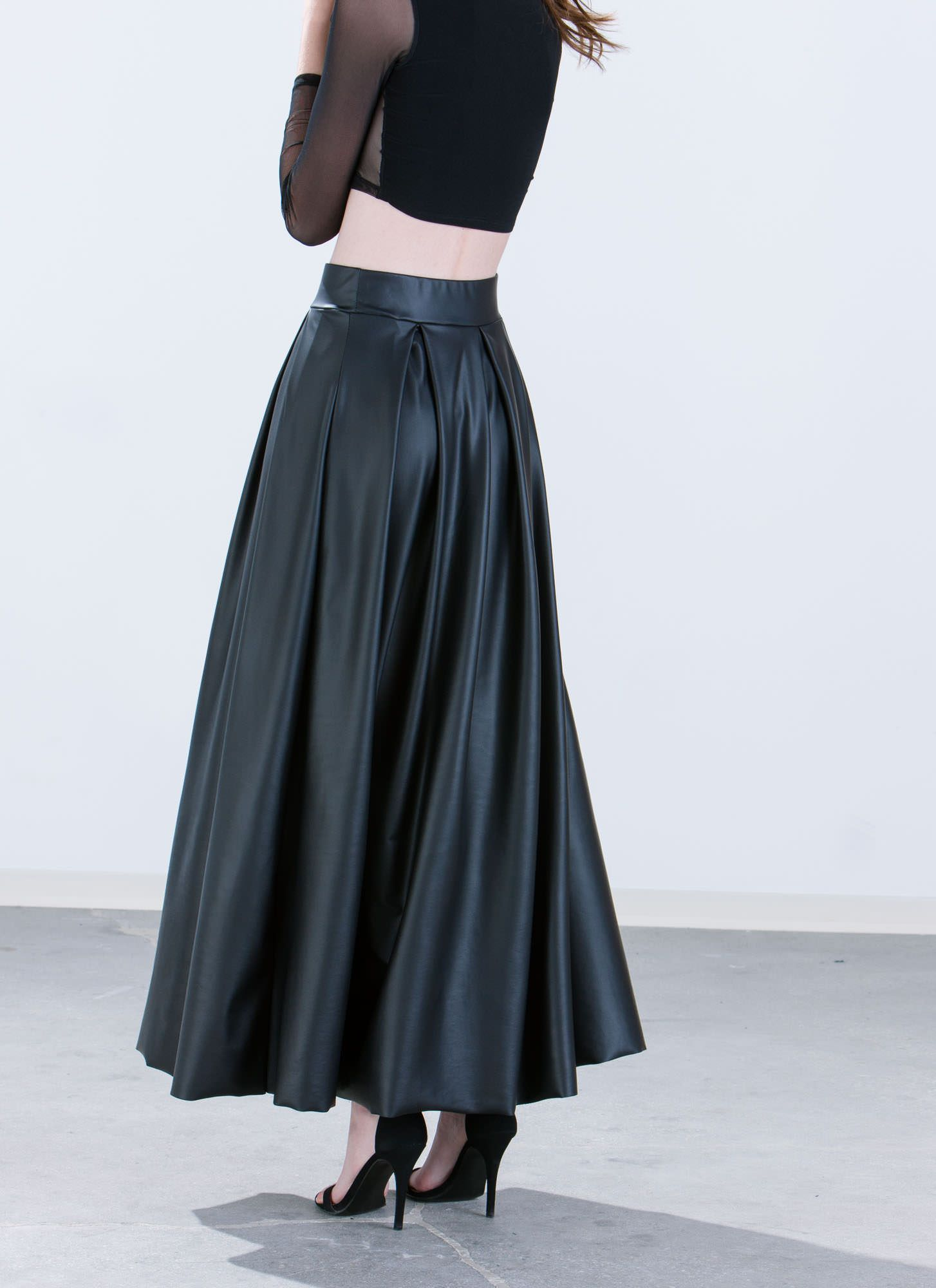 9cdc559b71 Aim To Pleats Faux Leather Maxi Skirt BLACK - GoJane.com