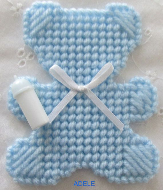 Plastic Canvas Baby Bear Ornament or Package by AdelesCrafts