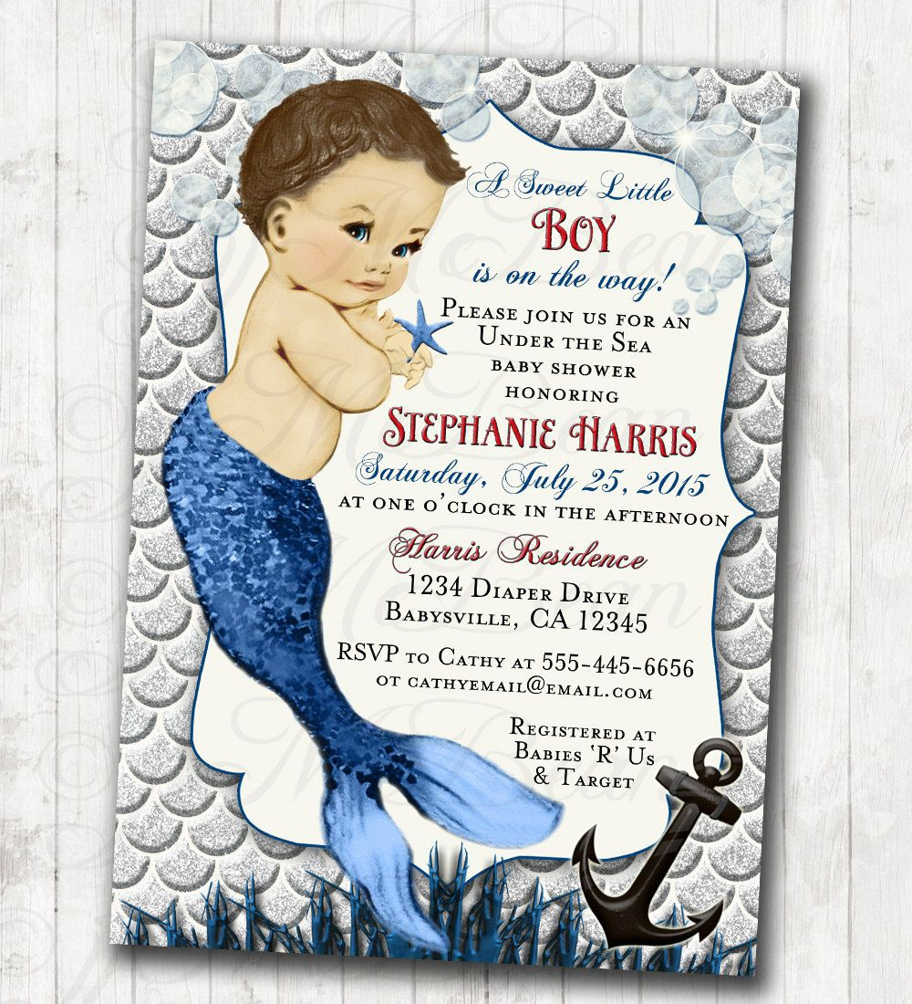 Boy Baby Shower Invitation Nautical Under The Sea Ocean Baby Shower ...