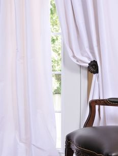 White Faux Solid Taffeta Drapes