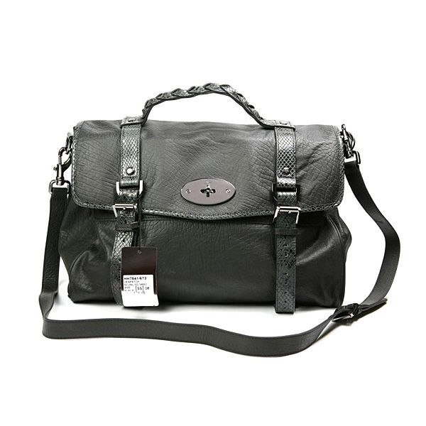 891382be7c Mulberry Alexa snake-print Leather Satchel Bag Black