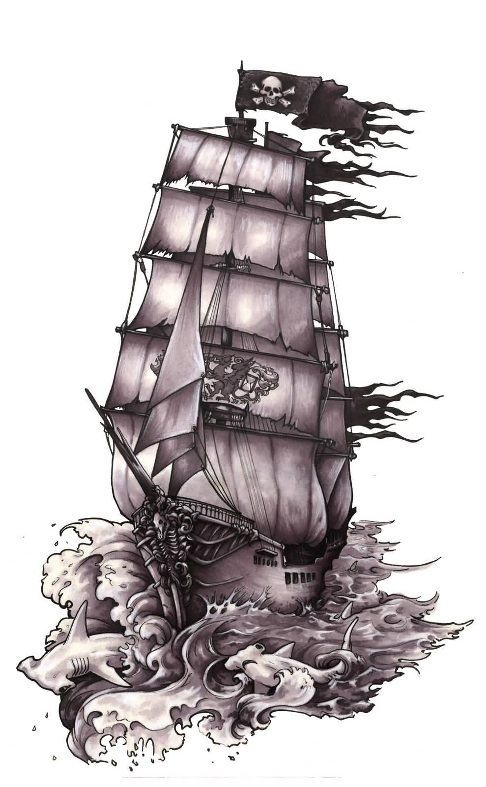 Awesome Pirate Ship With Hammerhead Shark Tattoo Design Pirate Tattoo Pirate Ship Tattoos Ship Tattoo