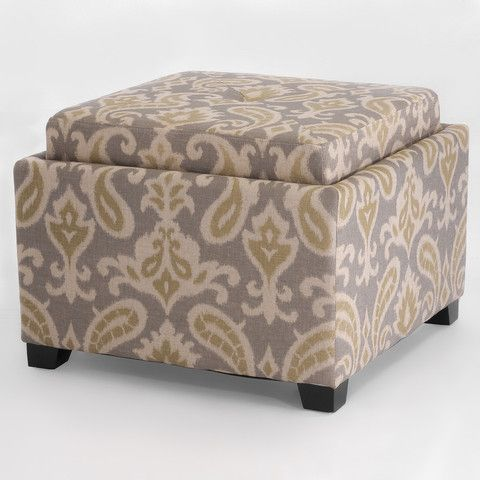 Durban Grey Printed Design Fabric Storage Ottoman Fabric Storage