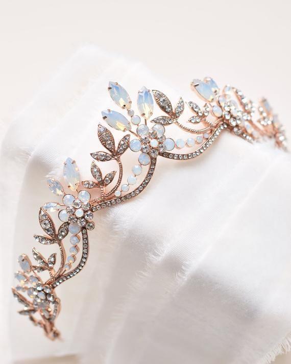 Opal & Crystal Bridal Tiara, Opal Wedding Headpiec