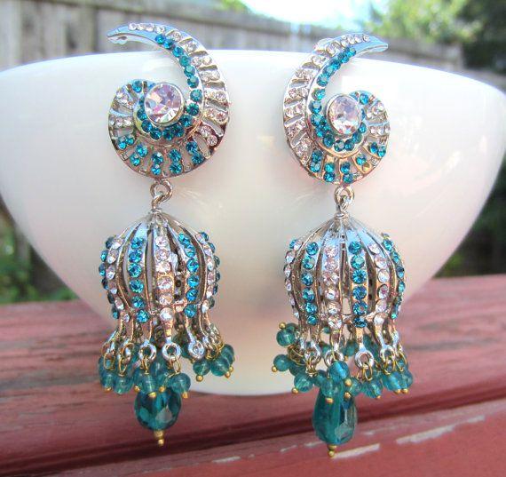 Victorian Style Peacock Blue Stone Chandelier Earrings Bollywood