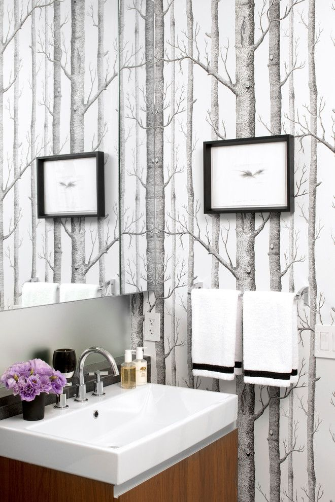 Peel And Stick Wallpaper Bathroom Contemporary With Bridge Faucet