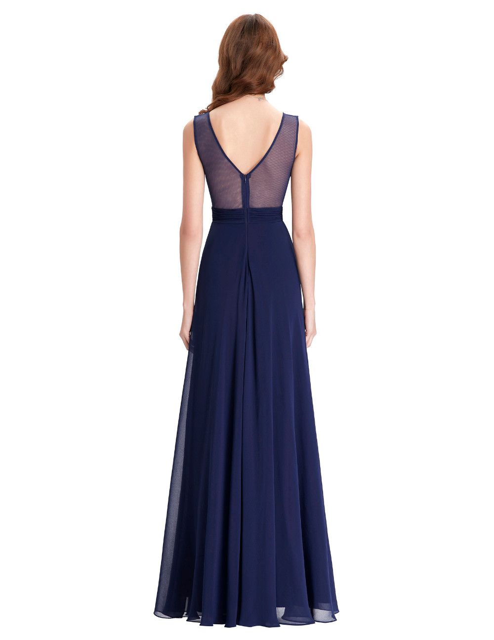 Western Junior Bridesmaid Dresses Long Navy Blue Wedding Party Dress ...