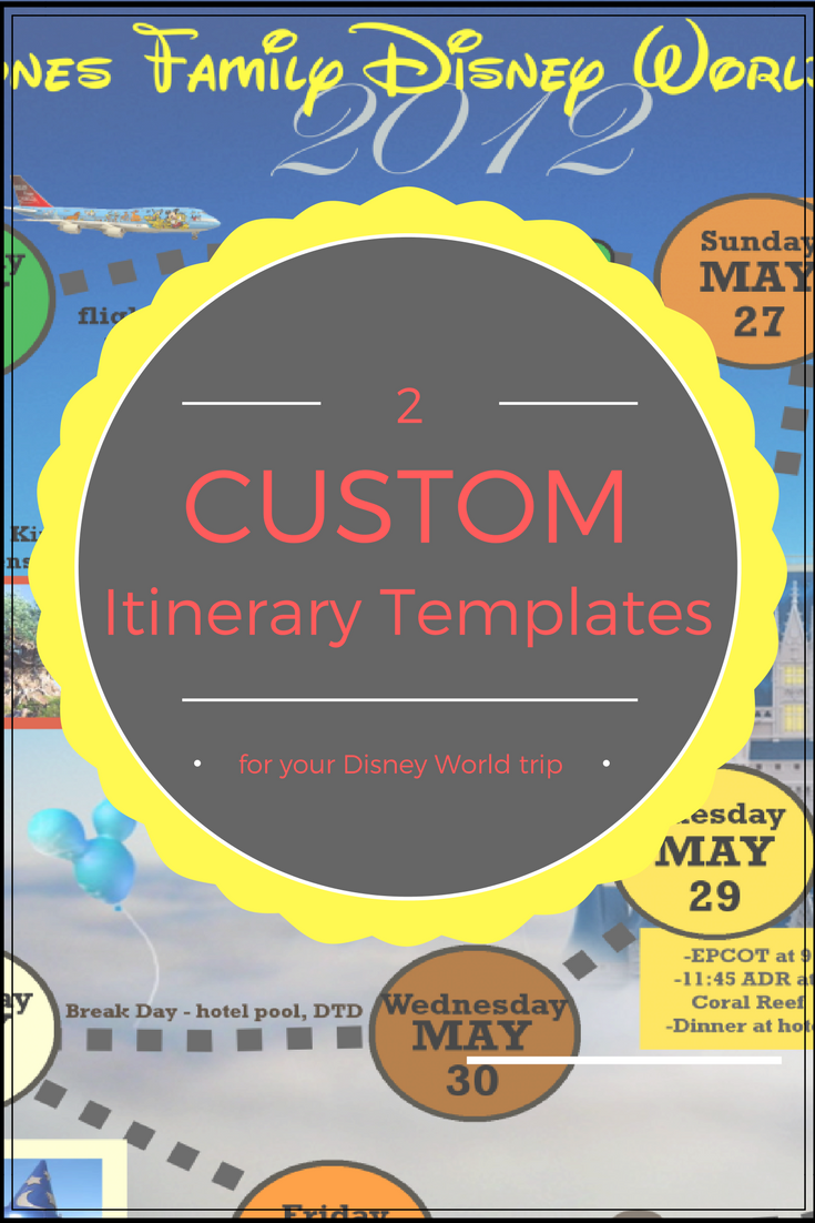 Wdw Itinerary Templates  Free  Printable  Available In Both