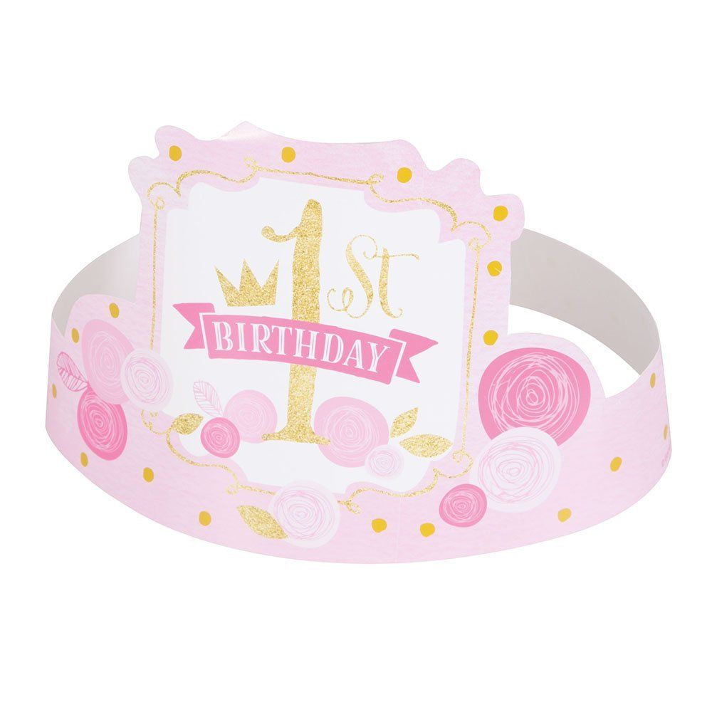 Pink and Gold Girls 1st Birthday Party Hats, 6ct: Amazon.ca: Home ...